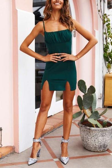 Party Girls' Sleeveless Slit Side Zipper Back Plain Mini Bodycon Cami Dress