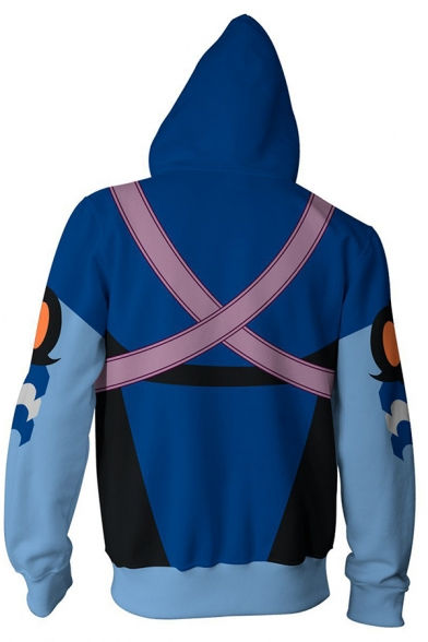 Popular Anime Character Cosplay Blue Long Sleeve Zip Placket Casual Sports Hoodie