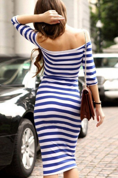 Sexy Girls' Short Sleeve Off The Shoulder Striped Print Cotton Midi Bodycon Dress