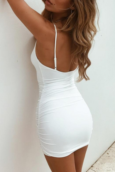 Sexy Party Girls' Sleeveless Open Back Plain Cotton Bodycon Mini Cami Dress