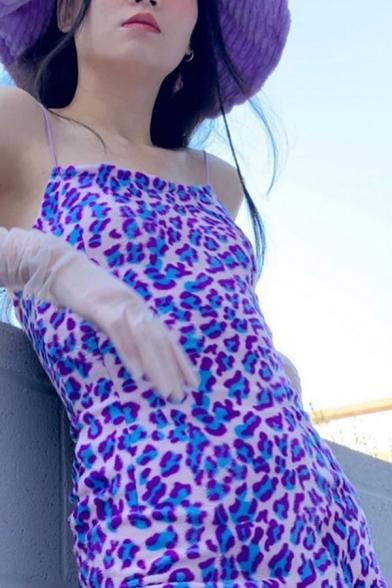 Sexy Purple Leopard Print Spaghetti Straps Side Split Velvet Mini Slip Dress