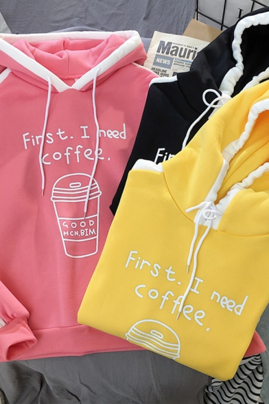 Stylish Letter FIRST I NEED COFFEE Contrast Stripe Trim Long Sleeve Oversized Hoodie