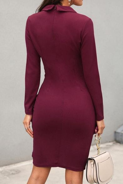 Women's Elegant Plain Long Sleeve Notch Lapel Button Detail Zipper Back Short Bodycon Wrap Work Blazer Dress