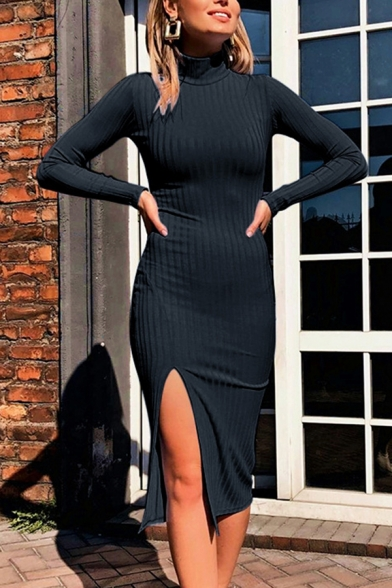 Womens Casual Sexy Long Sleeve High Collar Side Split Plain Ribbed Knit Midi Tight Dress for Party