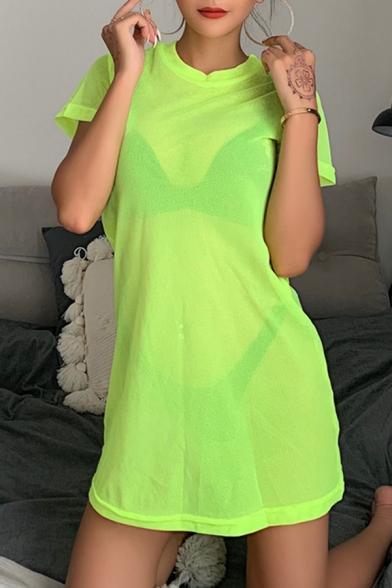 Womens Casual Sexy Loose Short Sleeve Round Neck Plain Sheer Fishnet Mini T-Shirt Dress