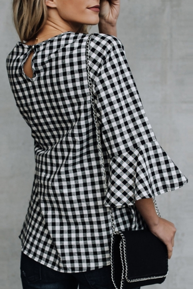 Womens Classic Black and White Plaid Print Bell Half Sleeve Casual Blouse Top