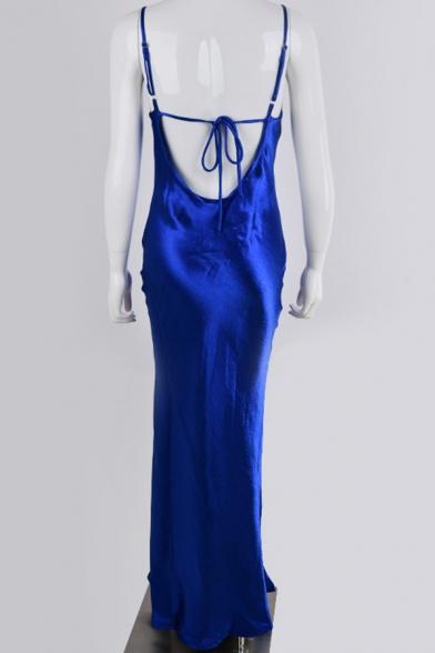 Womens Cool Metallic Plain Cowl Neck Tied Open Back Midi Cami Dress for Night Club