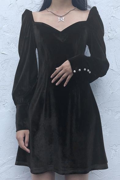 Womens Elegant Chic Plain Black Sweetheart Neck Long Sleeve  Mini Velvet A-Line Dress