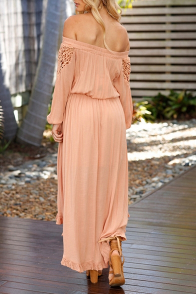 Womens Fashionable Plain Hollow Out Tied Off Shoulder Long Sleeve Maxi Layered Dress