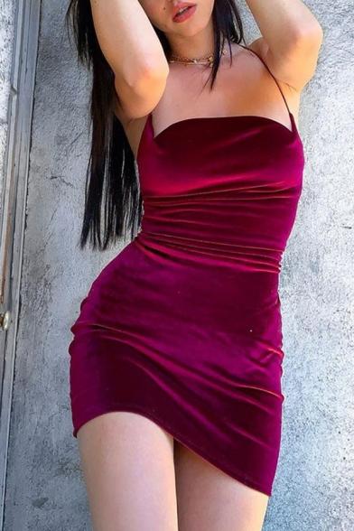 Womens Sexy Halter Neck Open Back Whole Colored Burgundy Velvet Mini Sheath Dress