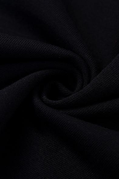 Womens Sexy Plain Black Halter Neck Split Front Slim Fit Maxi Party Dress