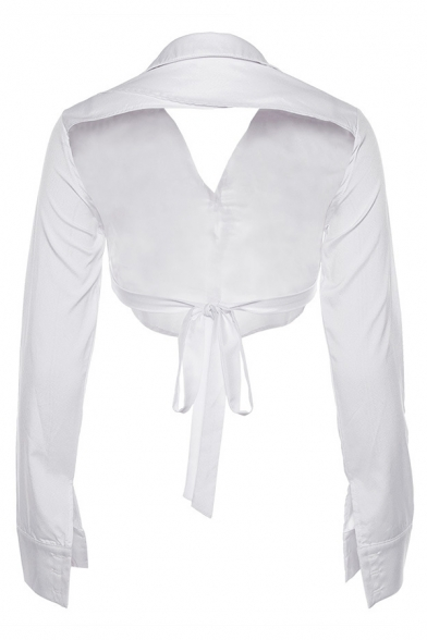 Womens Sexy Plain White Long Sleeve Lapel Tied Backless Single Breasted Fitted Cropped Shirt