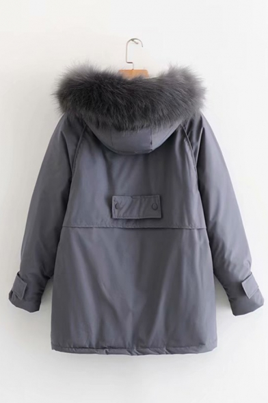 Womens Soft Fur Trimmed Hood Long Sleeves Zip Placket Solid Tunic Parka Cargo Coat