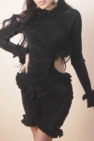 Womens Solid Color Designer Cutout Ruffles Embellished Long Sleeve Keyhole Back Mini Bodycon Dress