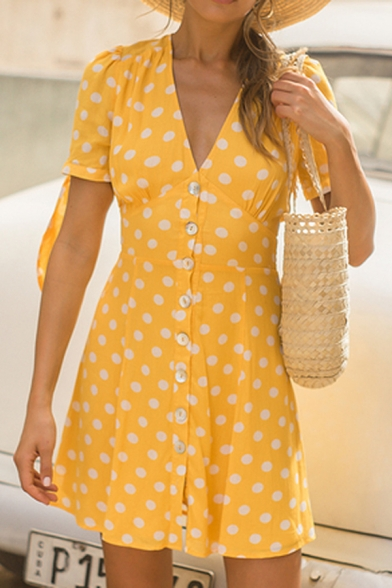 Adorable Girls' Bow-Tied Short Sleeve Deep V-Neck Button Down Polka Dot Short A-Line Dress in Yellow