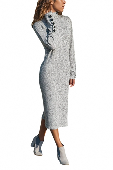 Basic Simple Female Long Sleeve Mock Neck Button Detail Plain Long Sheath Dress