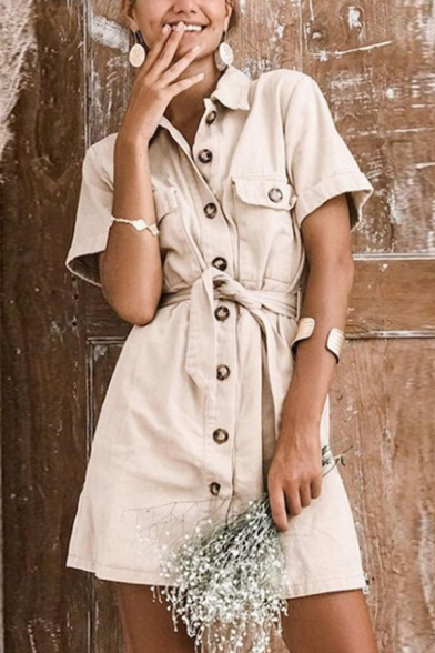 Casual Khaki Short Sleeve Lapel Collar Tied Waist Button Down Pocket Short A-Line Shirt Dress for Ladies