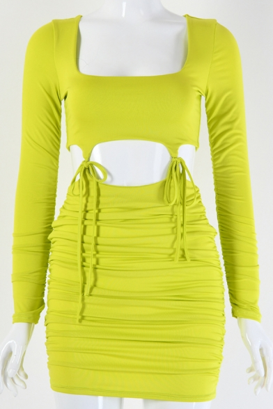 Chic Plain Square Neck Long Sleeve Ruched Cutout Tied Patched Two Piece Set Mini Bodycon Dress