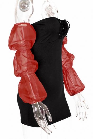 Contrast Bubble Sleeve Off Shoulder Lace Up Front Slim Fit Black Mini Party Dress