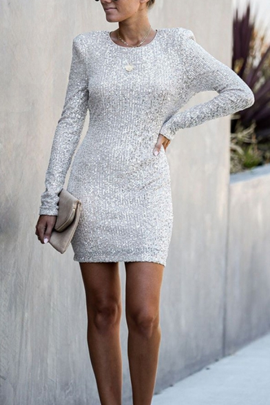 Fancy Sparkly Girls' Long Sleeve Crew Neck Zip Back Sequined Mini Bodycon Dress for Club