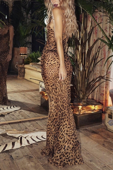 Ladies Chic Brown Leopard Printed Spaghetti Straps Cowl Neck Maxi Fitted Slip Dress, LM570391