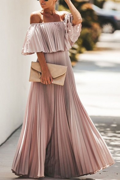 Ladies' Elegant Plain Short Sleeve Off The Shoulder Ruffled Maxi Long Prom Pleated Dress