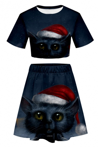 Lovely Cat 3D Printed Short Sleeve Cropped T-Shirt & Elastic Waist Midi Skirt Two Pieces Tracksuit