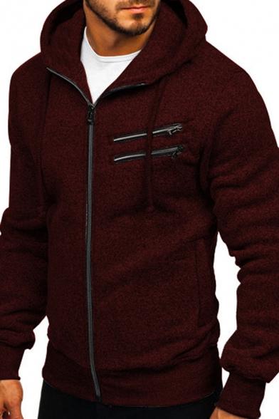 Mens Fashion Plain Long Sleeve Zipper Decoration Slim Fit Casual Hoodie