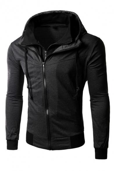 Mens Fashionable Plain Dark Gray Long Sleeve Zip Placket Slim Fit Thin Hoodie Coat