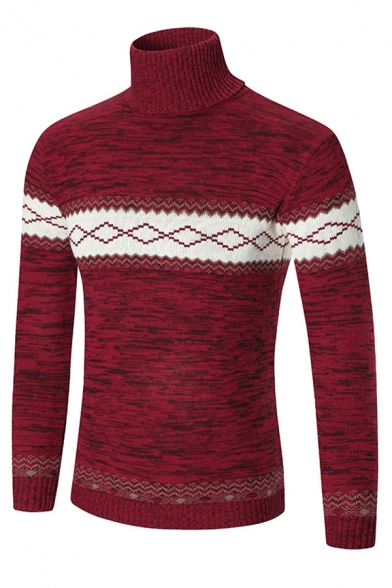 Mens Popular High Collar Contrast Geometric Printed Marbled Knit Fitted Pullover Sweater