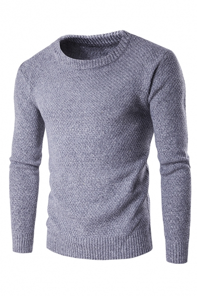 Mens Simple Whole Colored Long Sleeve Slim Fit Casual Knitted Chunky Pullover Sweater