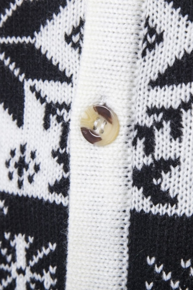 Mens Snowflake Elk Printed Long Sleeve Button Up Slim Fit Black and White Holiday Cardigan