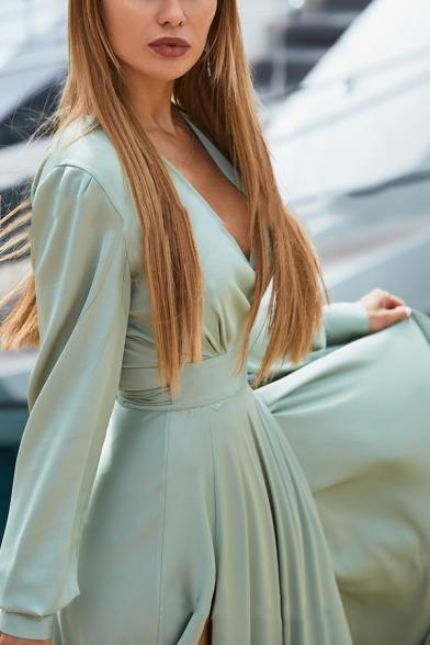 Plain Ethnic Long Sleeve Surplice Neck Bow-Tie Waist High Slit Side Maxi Boho Flowy Dress for Ladies