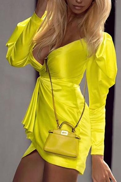 Pretty Sexy Ladies' Puff Sleeve Surplice Neck Plain Short Wrap Dress for Club