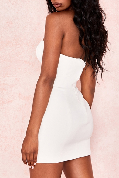 Sexy Plain White Sweetheart Neck Metal Buckle Embellished Mini Fitted Strap Dress