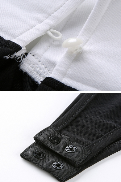 Sexy Women's Long Sleeve Spread Collar See-Through Black Mesh Slim Bodysuit