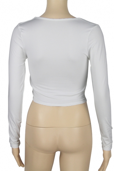 Unique Girls' Plain Long Sleeve Deep V-Neck Twist Front Slim Fit Crop T-Shirt for Club