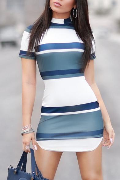 Unique Women's Short Sleeve Mock Neck Stripe Print Slit Side Mini Bodycon T Shirt Dress in White