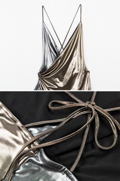 Womens Cool Gold Metallic Plain Halter Neck Sleeveless Night Club Sexy Mini Surplice Wrap Dress