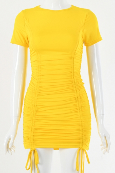 Womens Popular Solid Short Sleeve Ruched Drawstring Night Club Wear Mini Bandage Dress