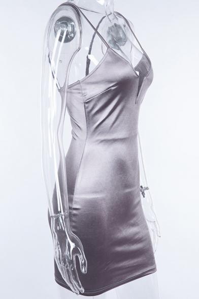 Womens Sexy Deep V-Neck Spaghetti Strap Plain Metallic Mini Evening Dress