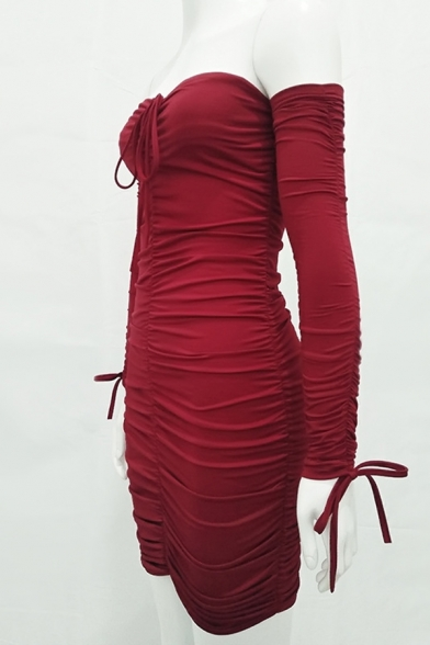 Womens Sexy Drawstring Ruched Off the Shoulder Long Sleeve Plain Mini Fitted Bandage Dress for Party