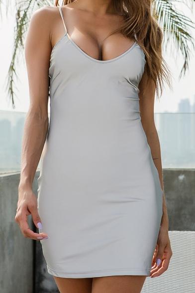 Womens Sexy Nightclub Style Plain Scoop Neck Sleeveless Cool Reflective Fitted Mini Slip Dress