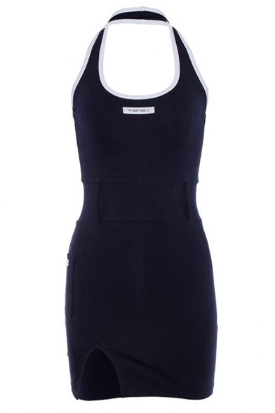 Chic Letter MY BABY MADE IT Print U-Shaped Halter Neck Sleeveless Contrast Trim Mini Split Sheath Dress
