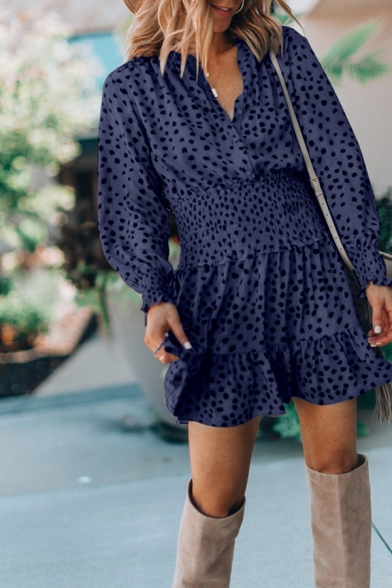 Cute Ladies' Long Sleeve Surplice Neck Polka Dot Ruched Ruffled Trim Plain Pleated Short A-Line Dress