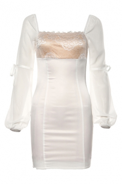 Female Elegant Lace Floral Printed Square Neck Tied Long Sleeve White Fitted Party Mini Dress