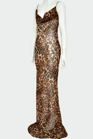 Ladies Chic Brown Leopard Printed Spaghetti Straps Cowl Neck Maxi Fitted Slip Dress