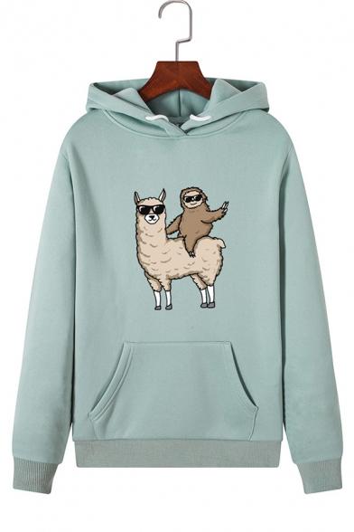 Lovely Cartoon Alpaca and Sloth Print Long Sleeve One Pocket Pullover Hoodie