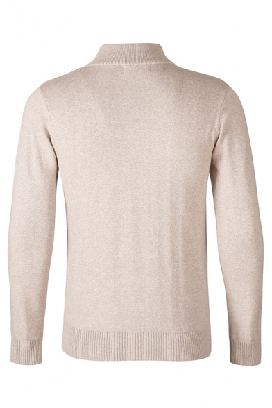 Mens Simple Casual Stand Collar Half-Zip Placket Slim Fit Plain Casual Sweater Knitted Sweatshirt