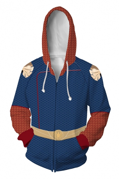 Mens Stylish Star Striped 3D Print Colorblocked Long Sleeve Zip Placket Cosplay Hoodie
